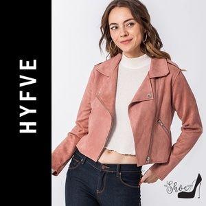 Scuba Suede Moto Jacket in Mauve Pink